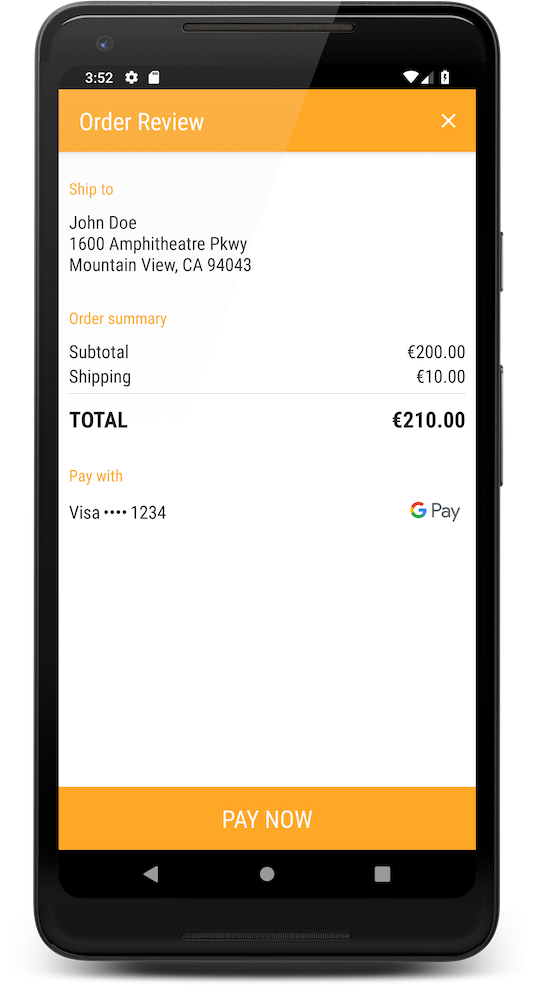 Google Pay Confirmation Page
