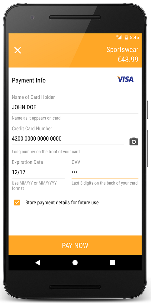 Store payment details